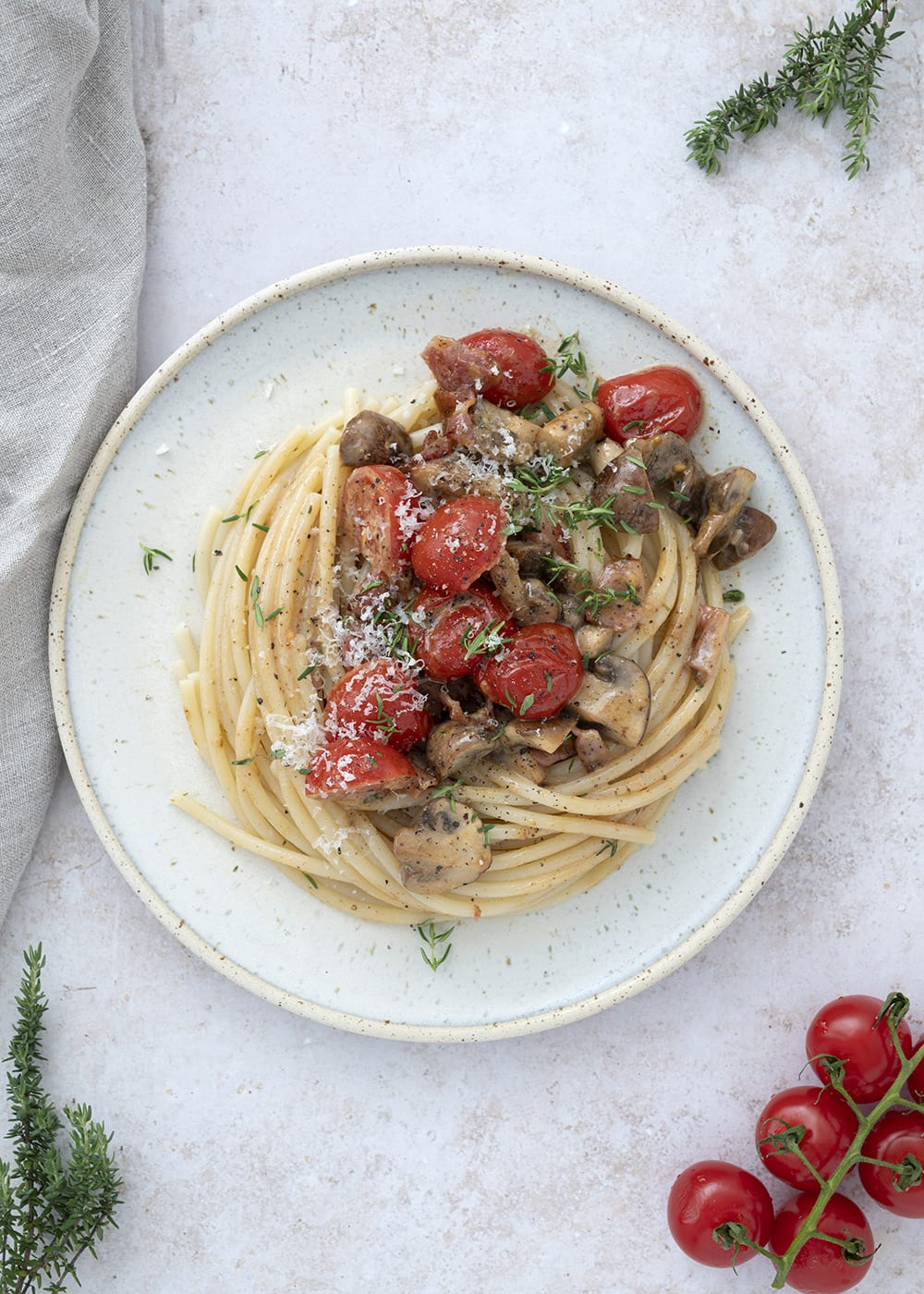 pasta med champignon tomat