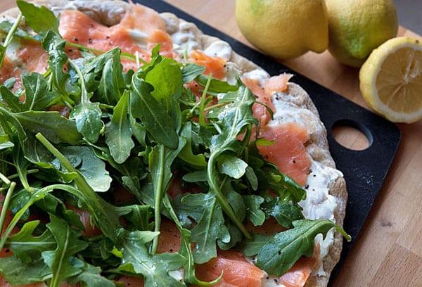 Fantastisk pizza med laks og wasabi