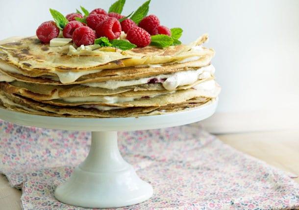 Pandekagekage med hindbær