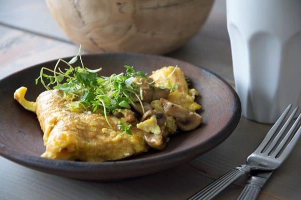 Omelet med svampe og ost