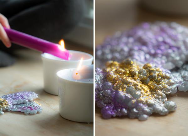 dryppe lys med glimmer