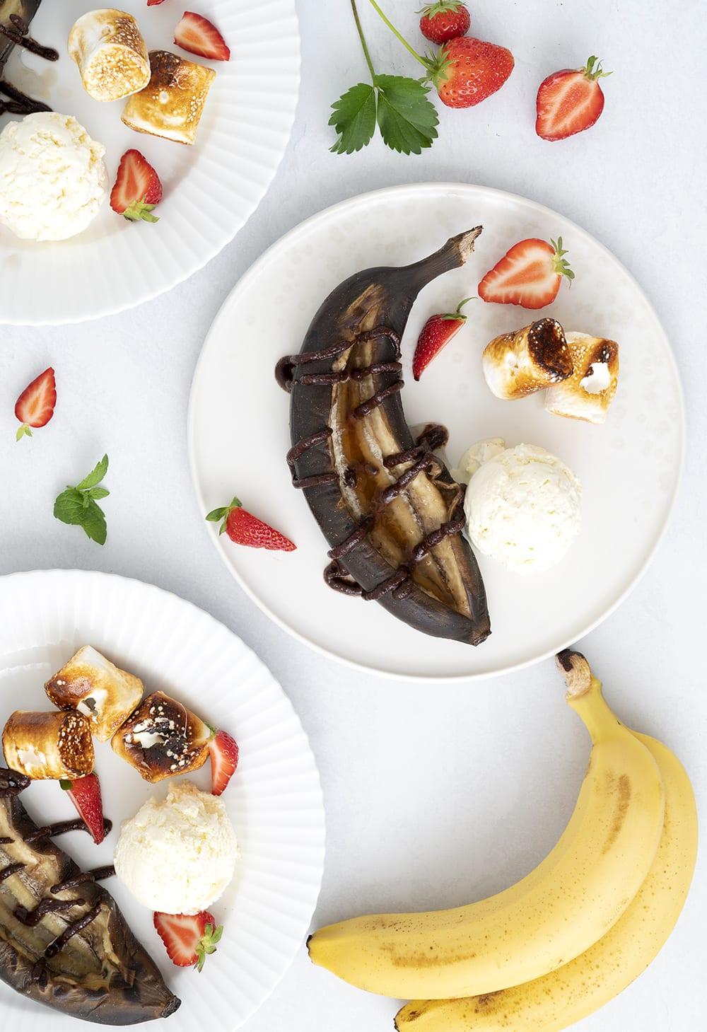 grillede bananer med rom