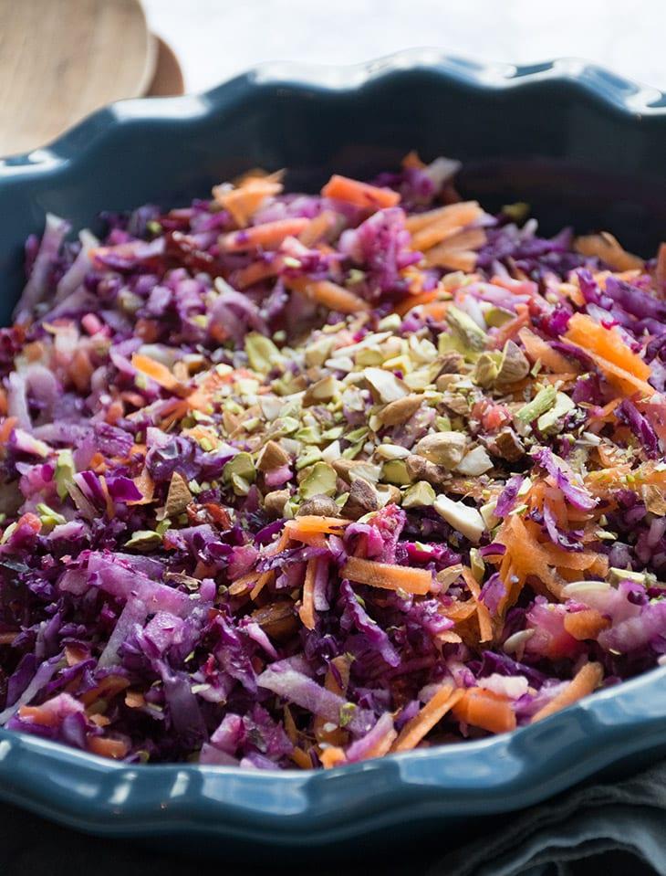råkost med rødkål gulerødder