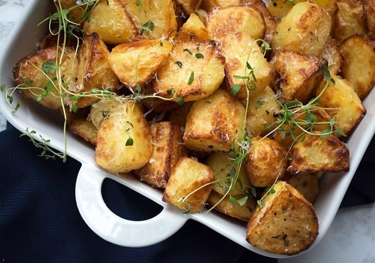 små stegte kartofler i ovn