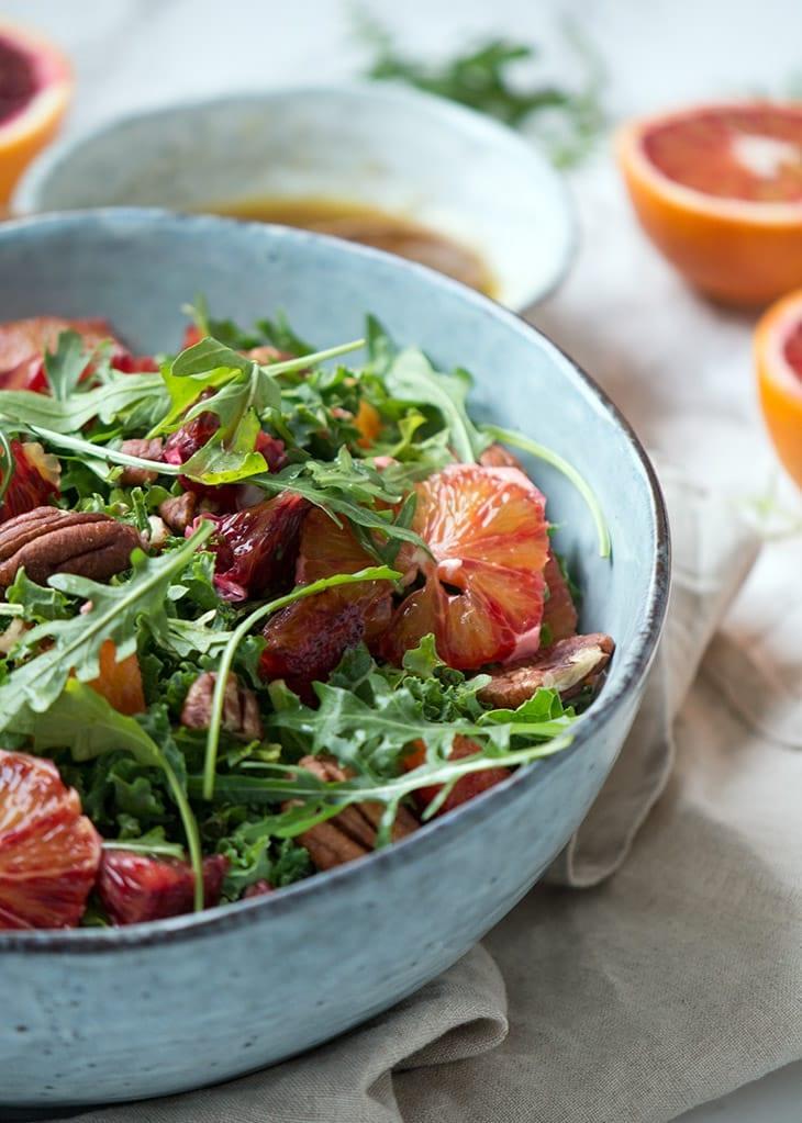 blodappelsin og rucola salat