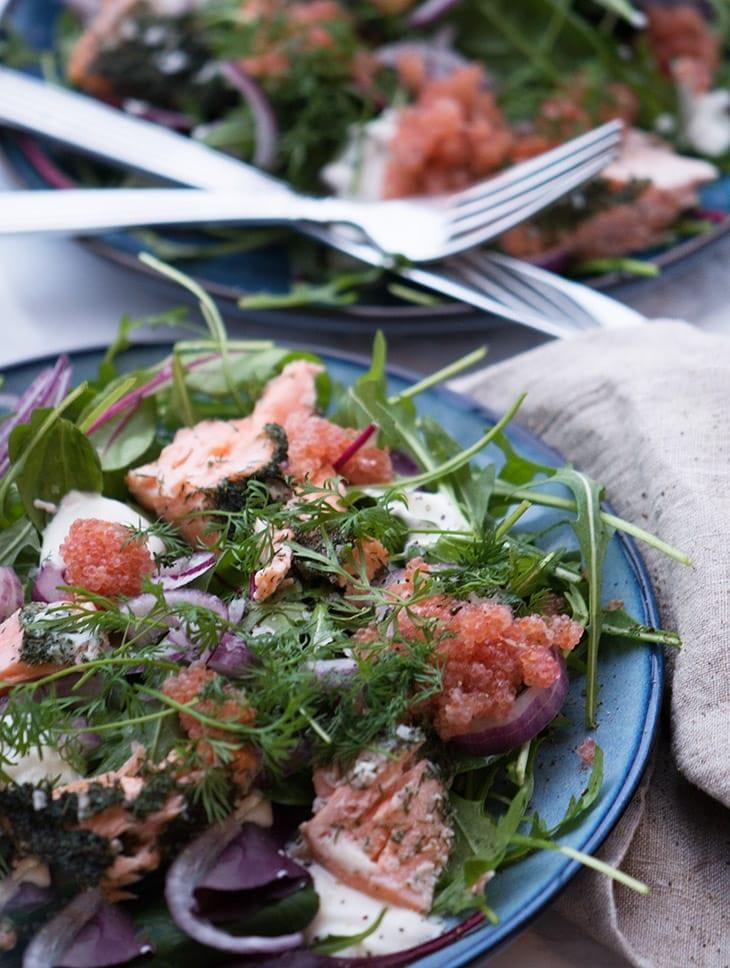 salat bagt laks stenbiderrogn