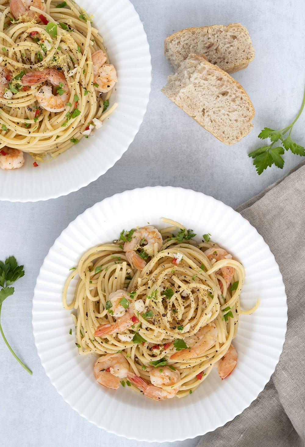 pasta med rejer og hvidløg