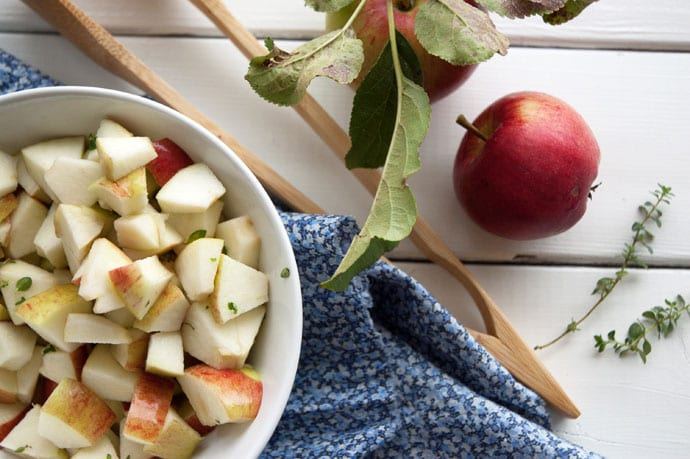 Æbletern i citron og honningmarinade