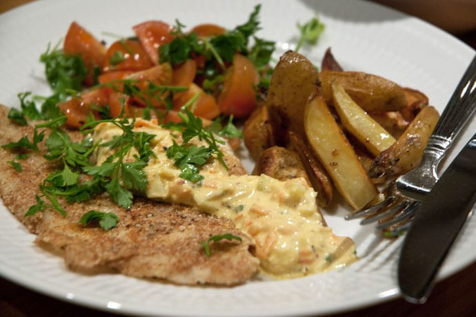 Fiskefilet med hjemmelavet remoulade og fritter